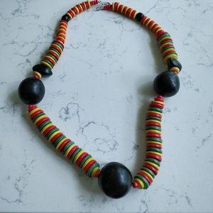 (3/$15) Vintage wood bead necklace